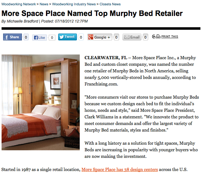 More Space Place Named Top Murphy Bed Retailer