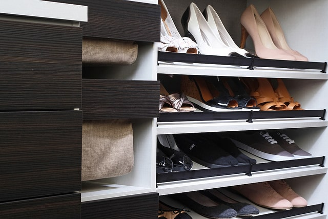 Custom shoe storage in closet Jacksonville