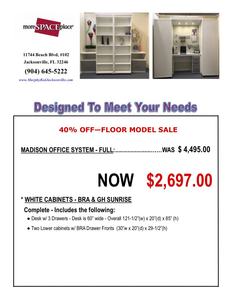 Madison Desk Bed Sale Jacksonville