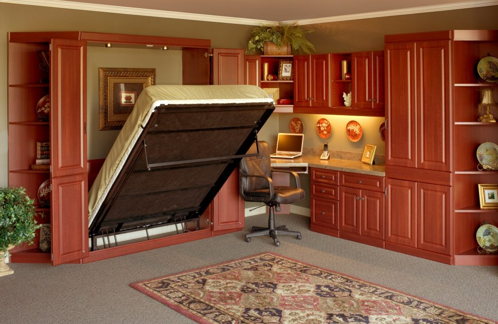Custom home office desk with Murphy bed
