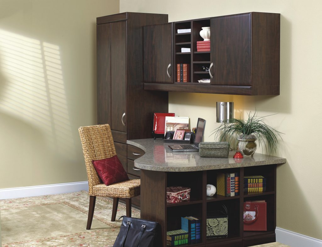 Home office with custom desk