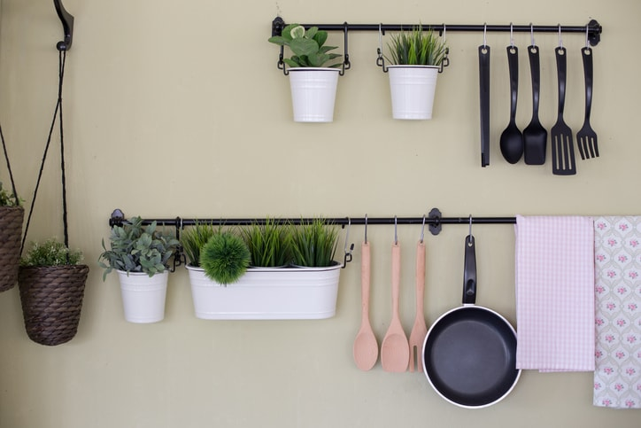 hanging utensils in a small kitchen
